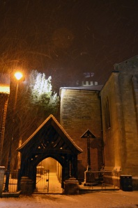 The lych gate and Calvery under snow